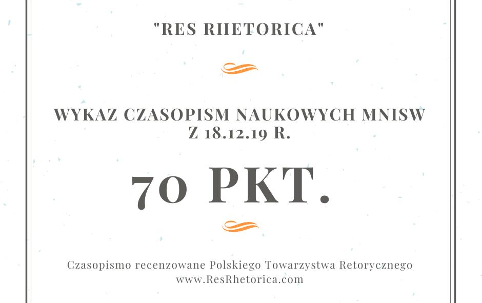 """""""Res Rhetorica"""": a jednak 70 punktów!"""